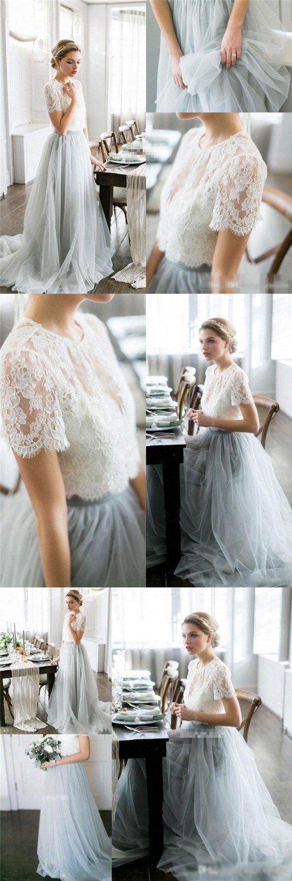 Cheap Custom Lace and Tulle Two Pieces Prom Dresses, Wedding dresses, Pretty Dress, PD0465 Cheap Custom Lace and Tulle Two Pieces Prom Dresses, Wedding dresses, Pretty Dress, PD0465