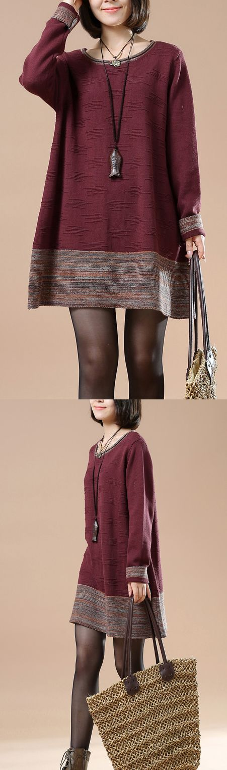 Brick red jacquard pullover sweaters knit dress