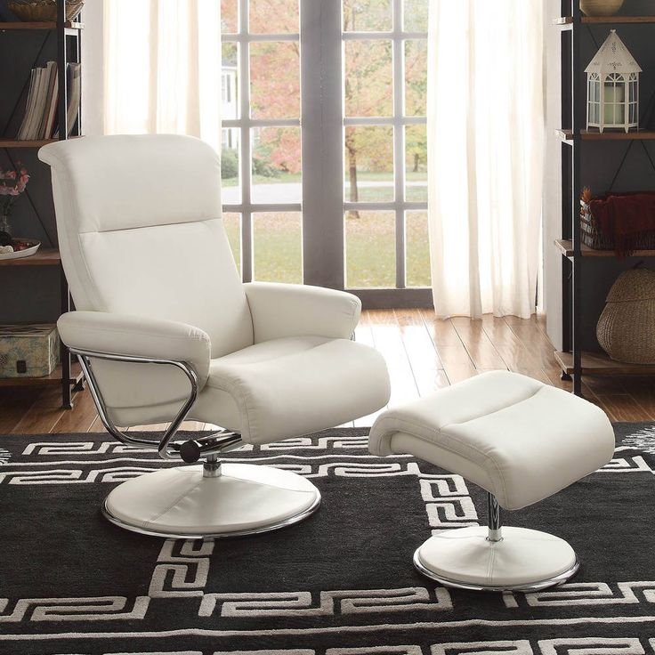 Caius White Bonded Leather Swivel Reclining Chair w/Ottoman