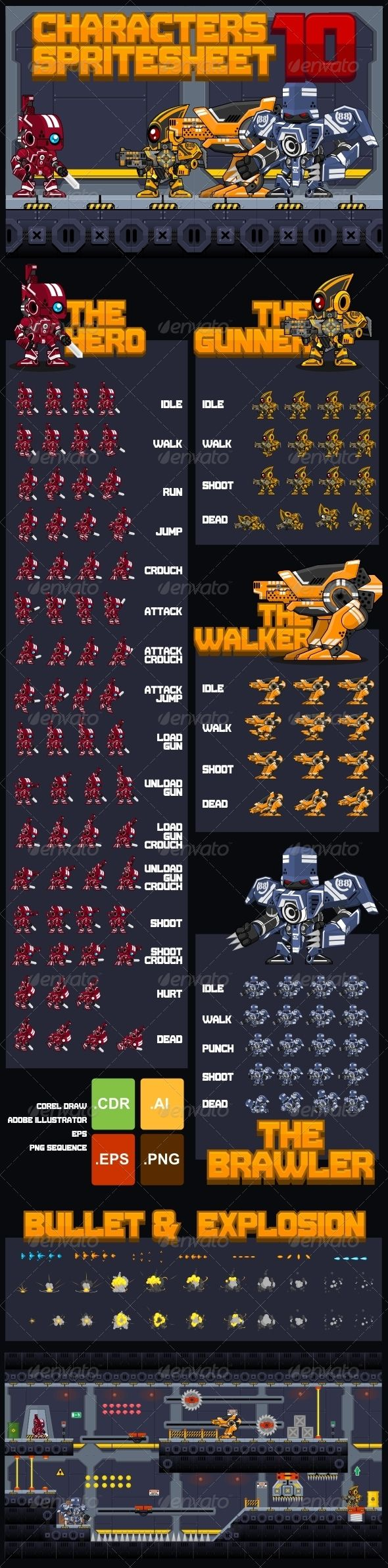 A collection of various characters spritesheets for creating a 2D action platformer or sidescroller game. Especially games with robot, mecha, cyborg, war, outer space, futuristic, or techno theme     #game #asset #spritesheet #character #sprite #robot #mecha