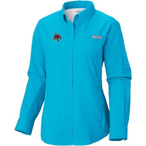 Columbia Sportswear Women's Texas State University Long Sleeve Tamiami PFG Shirt (Aqua Or Turquoise, Size