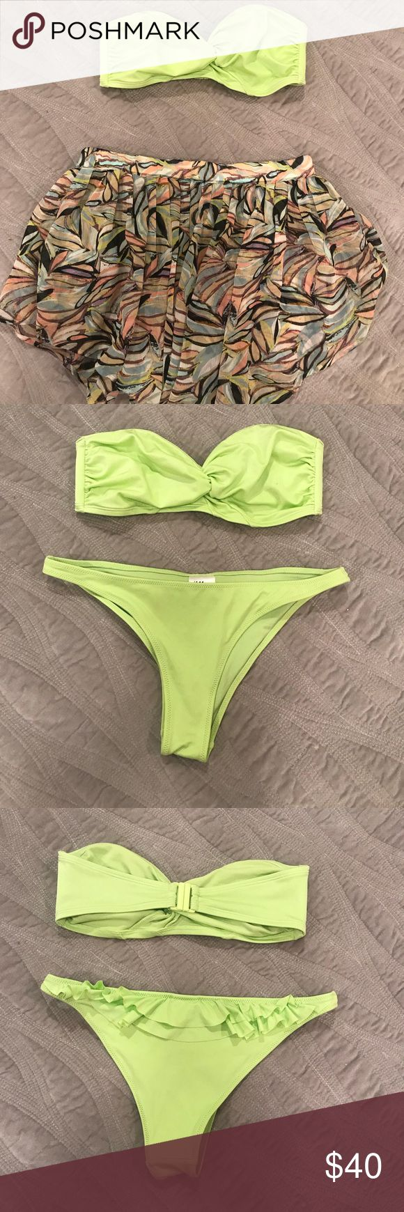 Neon green Bikini & coverup skirt Brand new never worn!! Super cute beach/pool outfit!! H&M neon green bandeau top bikini with cheeky ruffle bottoms & matching sheer coverup skirt! Skirt is cut like a V - shorter on sides and longer in front/back.   Skirt - small Bikini top - 8 Bikini bottom - 4  Brand H&M. (H&M generally runs small. I would compare the top to a sm/md and bottom to a small.) H&M Swim Bikinis