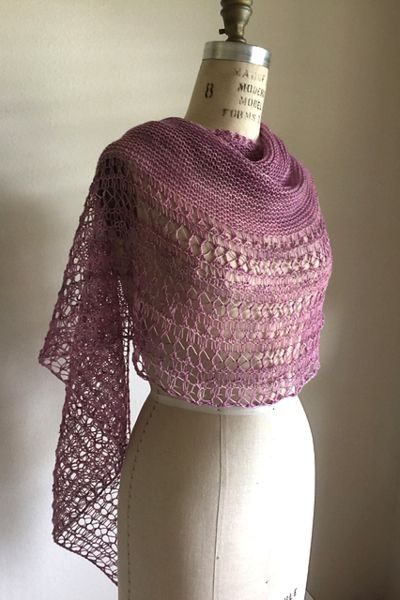 Ravelry: Rosewater shawl with Forbidden Woolery Justice yarn - knitting pattern by Janina Kallio.