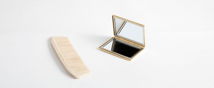 Satin-Finish Brass Compact Mirror - Kaufmann Mercantile