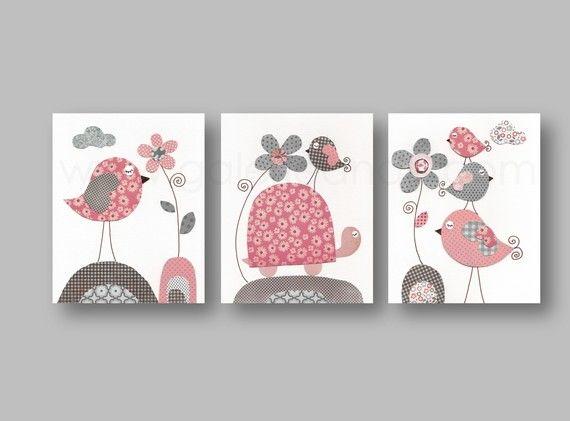 Lot de 3 illustrations pour chambre d'enfant et bebe, gris, rose