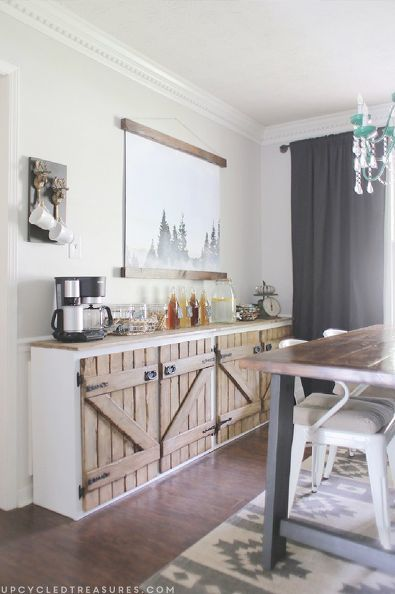 Barn wood upcycle into beautiful buffet and storage hutch doors