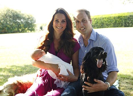 """Will, Kate, baby George and Lupo pose for a family photo taken by Kate's dad Michael Middleton, August 1913. """"William and Catherine wanted to release photos that are more natural and personable, something more intimate,"""" a Palace aide said."""