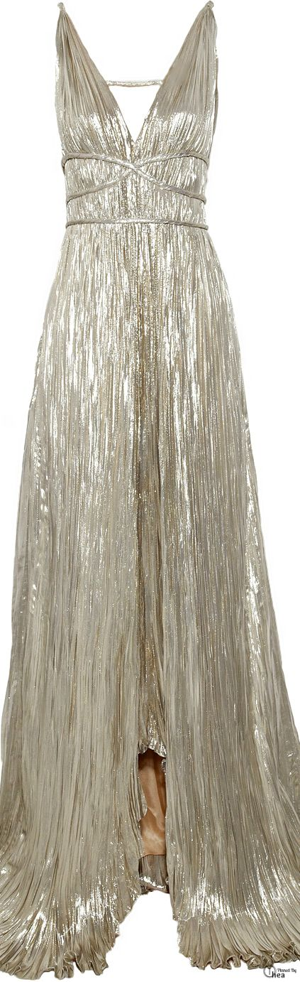 I am in LOVE with this dress!! Oscar De La Renta Silver Pleated Lamé Gown   cynthia reccord