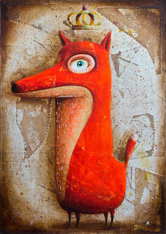 My painting reproduction / print *FoxRex* by RobertRomanowicz on Etsy