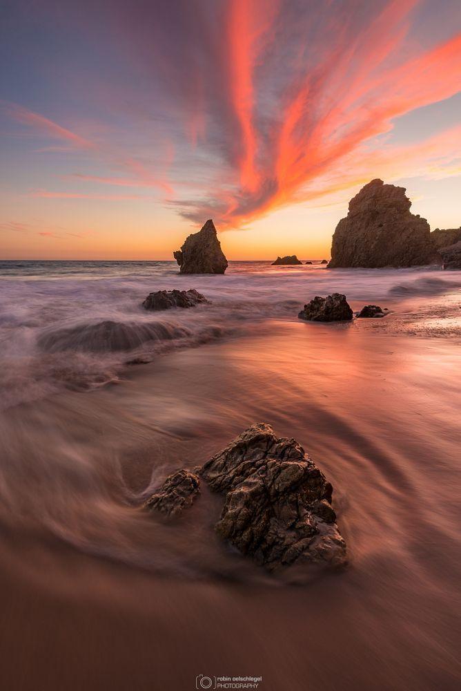 burning sky by Robin  Oelschlegel on 500px..... #sky #sea #sunset #water #beach #travel #blue #sun #light #clouds #ocean #rocks #summer #beautiful #california #green #sand #malibu #seascape #longexposure #losangeles #elmatadorbeach