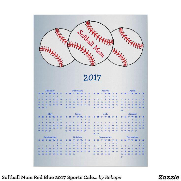 Baseball Mom Red Blue  Sports Calendar Poster   Calendars