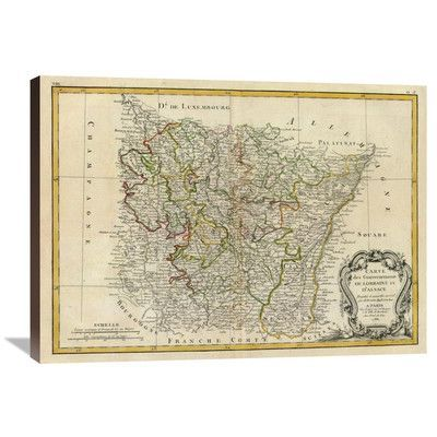 """Global Gallery Lorraine, Alsace, 1786 by Rigobert Bonne Graphic Art on Wrapped Canvas Size: 26"""" H x 36"""" W x 1.5"""" D"""