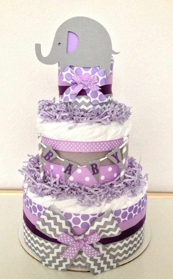 anleitung windeltorte basteln babygeschenke geburt lila