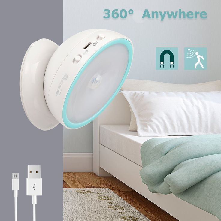 Motion Sensor Night Light,Elecstars USB Rechargeable 360 Degree Flexible Rotating Motion Sensor Anywhere LED Night Light (White)
