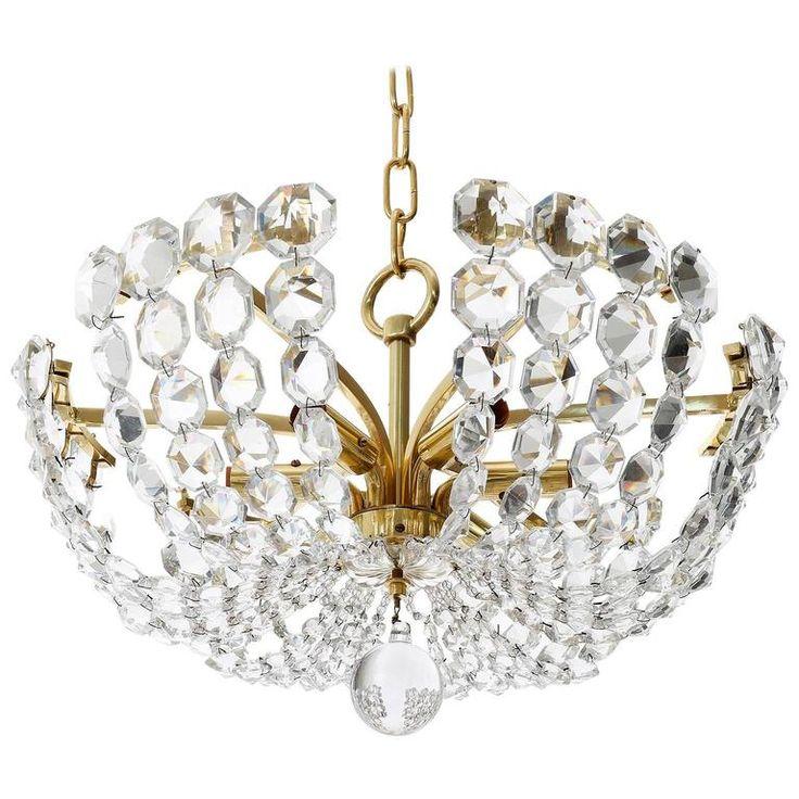 Rare J.L. Lobmeyr Chandelier Pendant Light, Brass Crystal Glass, Austria,  1960s