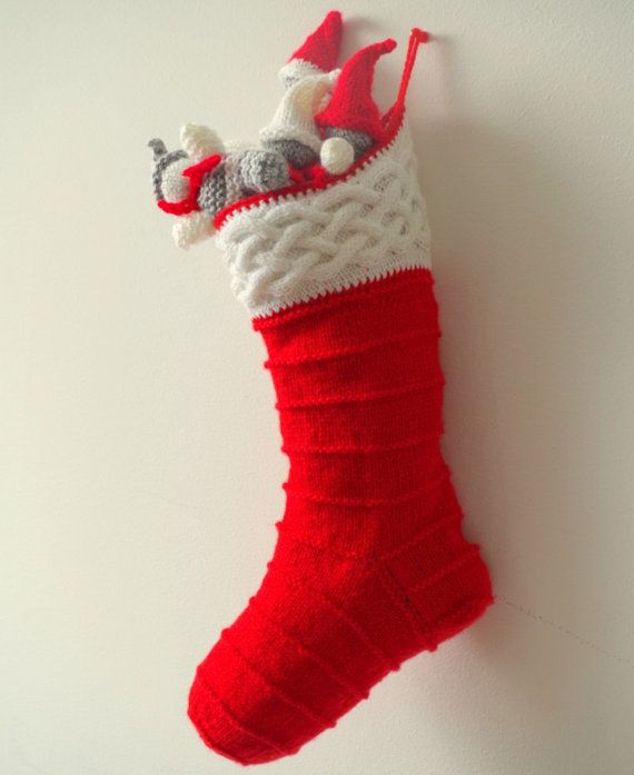 Knitting pattern for Christmas stocking with cables Christmas stocking, Kni...