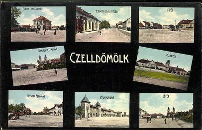 Celldömölk; Griff szálloda; Kossut Lajos utca; Főtér; Róm. kat. templom; Vásártér; Vasútállomás; Pályaudvar; Főtér | Képeslapok | Hungaricana
