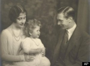 Queen Elizabeth as a child with her parents.