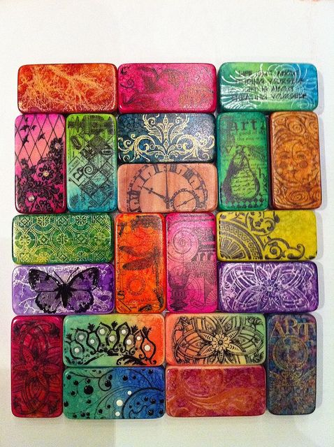Altered Domino Art by shellyski's creations, via Flickr. Coloring the domino before stamping.