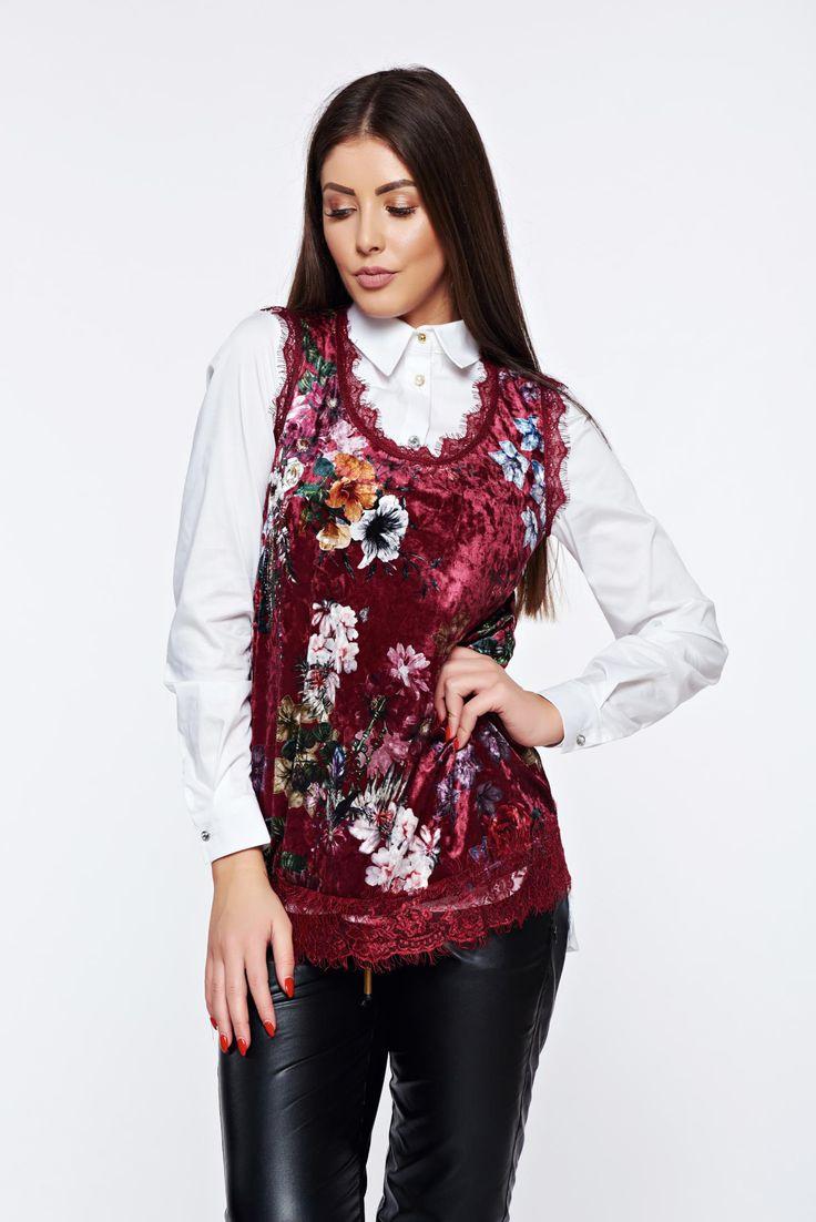 Burgundy casual velvet top shirt lace details, women`s top shirt, floral prints, easy cut, has fringes, lace details, elastic fabric, velvet