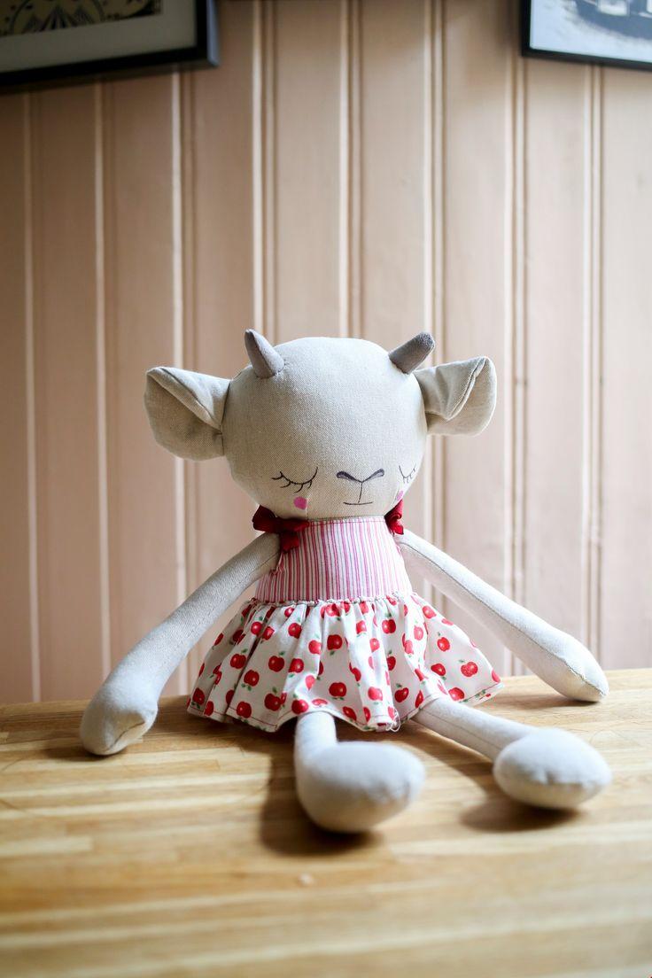Handmade Girl Goat Cloth Doll by Peanut And Elliott
