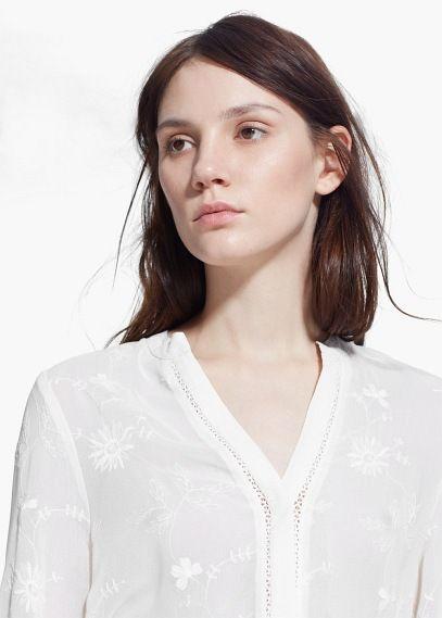 Blusa semitransparente bordados - Camisas de Mujer | OUTLET