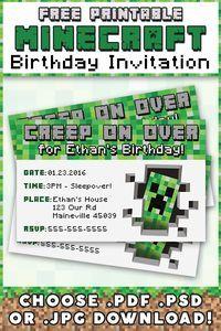 Minecraft Invitation { Free Printable } Choose PDF, PSD, or JPG