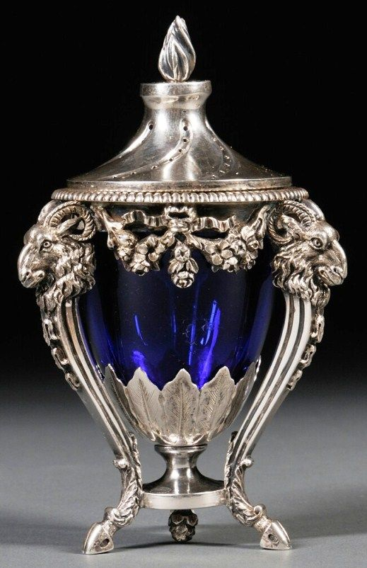 Urn; Silver, Neoclassical Style, Covered, Cobalt Glass Liner, 5 inch. Netherlands, circa 1894.