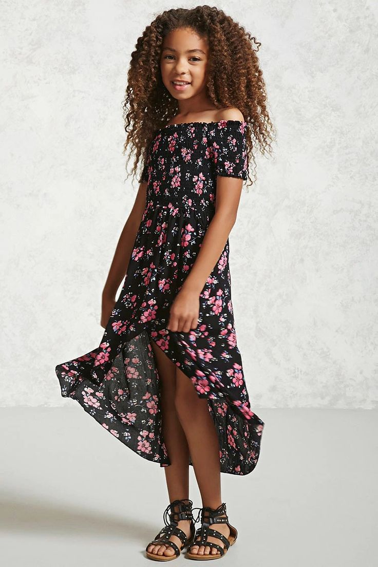 Forever 21 Girls - A crinkled woven maxi dress featuring an allover floral print, a smocked bodice, shirred off-the-shoulder neckline, short sleeves, and a high-low tulip hem.