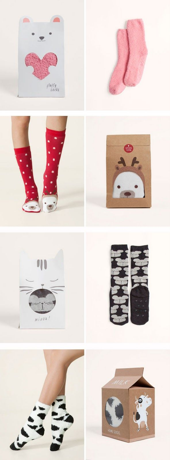 el packaging de Oysho is a great collection of the cutest sock #packaging PD  I love these packaging, but my favorite is the one with the cow socks. Using the milk carton idea is so clever and keeps it fun!