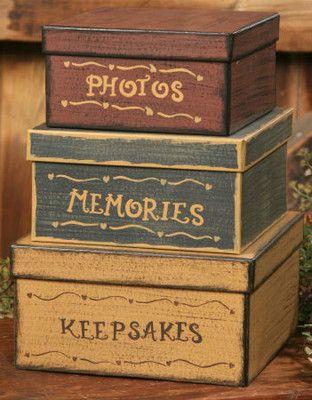 Primitive Boxes http://www.ebay.com/itm/New-Primitive-Country-PHOTOS-KEEPSAKES-MEMORY-Folk-Art-Nesting-Stacking-Boxes-/360673076616?pt=Folk_Art=item53f9ca6588