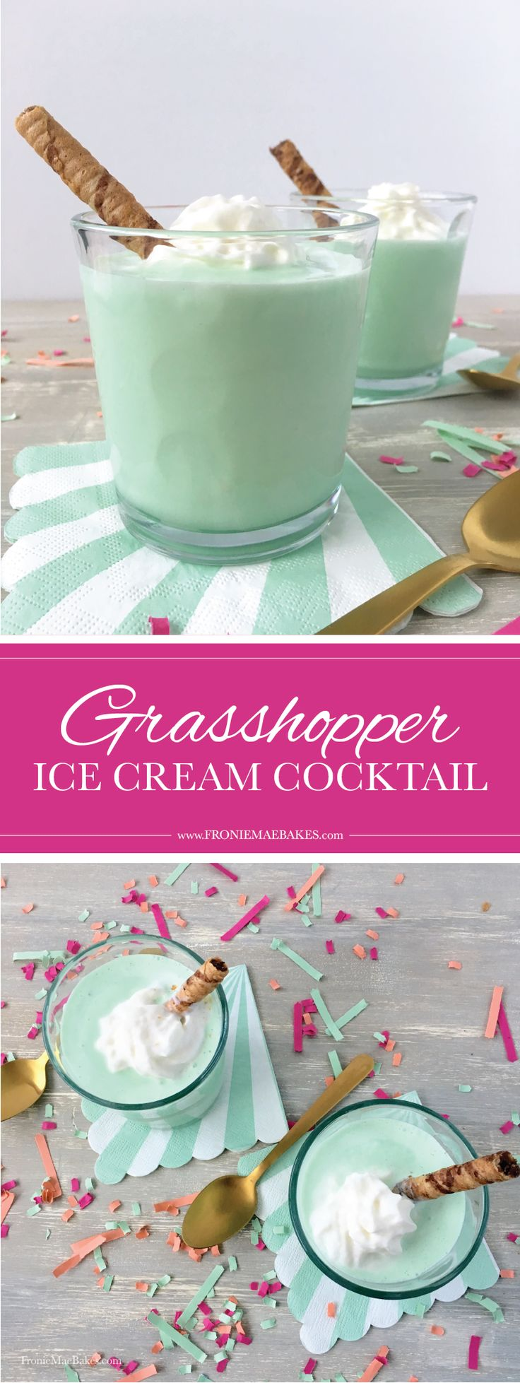 Make this cool and creamy Grasshopper ice cream cocktail with a few ingredients and wow your guests! Full recipe on www.FronieMaeBakes.com