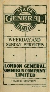 LGOC bus map cover featuring the ring and logotype, 1913. Reference number: 1992/515