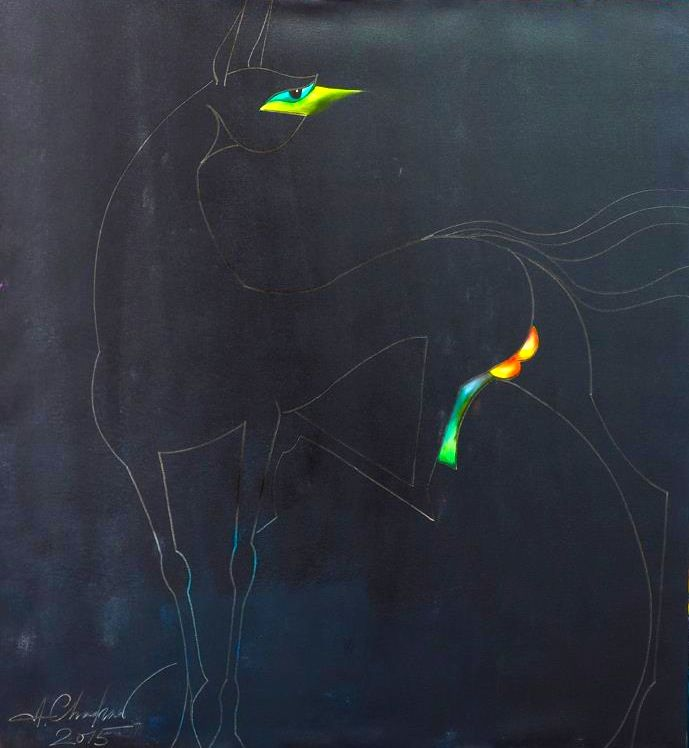 'HORSE COMPOSITION #6 by Chadraabal Adiyabazar Contemporary Art for Sale - ART101 Art Gallery & Framing