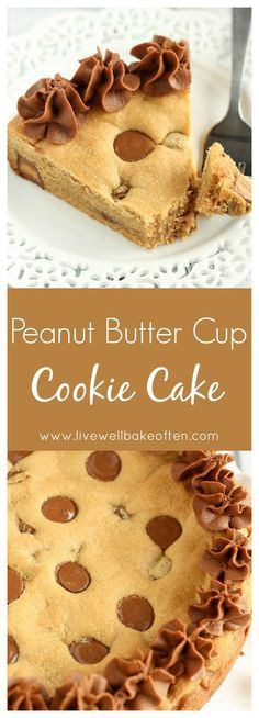 An easy peanut butter cookie cake filled with peanut butter cups and topped with chocolate frosting. This Peanut Butter Cup Cookie Cake is the ultimate dessert!