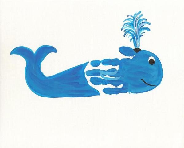 Hand print whale. kids craft.