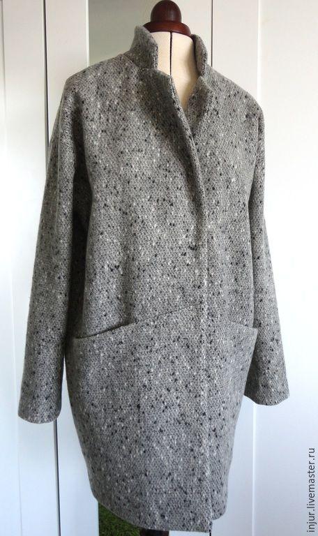 Купить Пальто демисезонное. - серый, пальто, пальто-кокон, пальто-оверсайз, пальто демисезонное