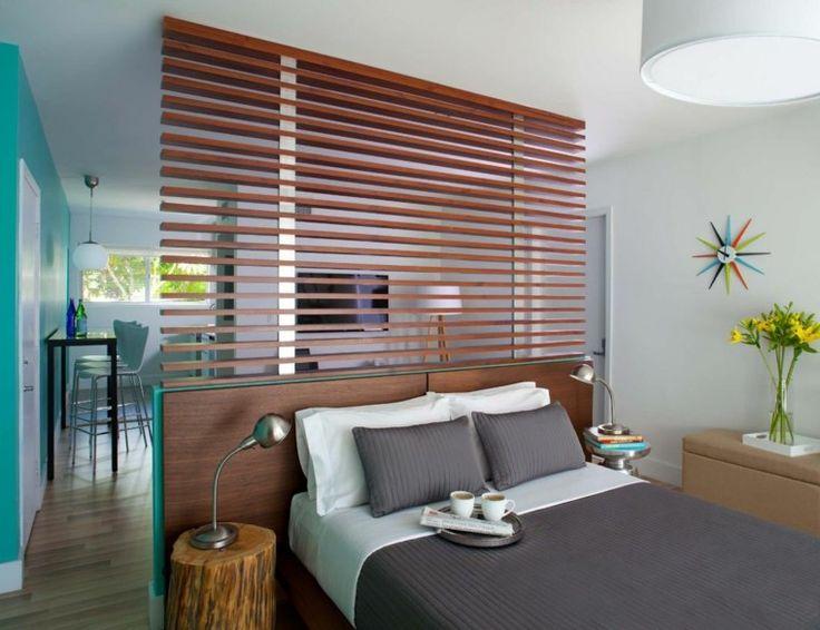 meuble de séparation de pièce transparent : tête de lit originale