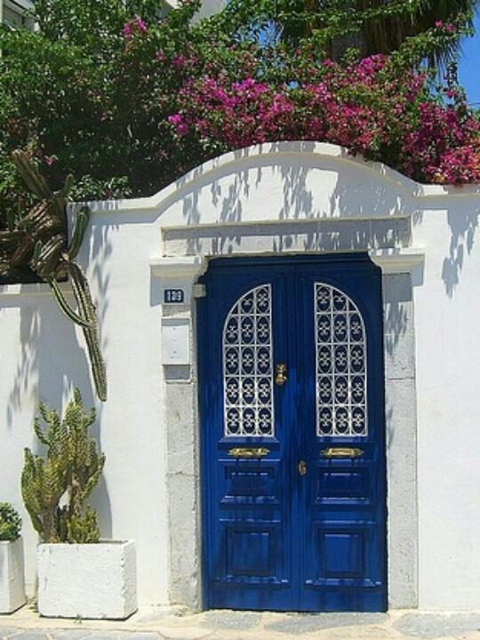Cobalt blue door in Muğla, Turkey