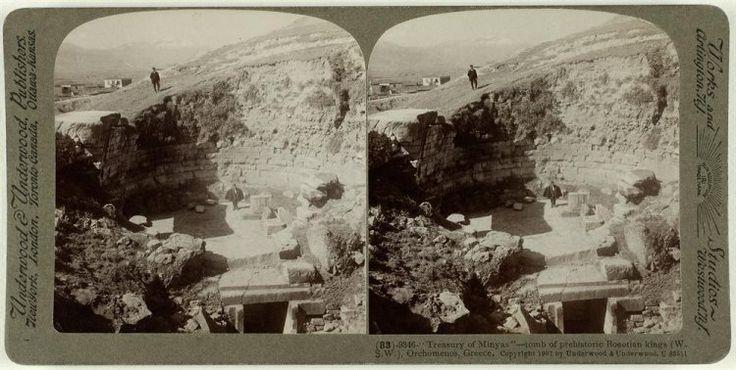 "Treasury of Minyas""-tomb of prehistoric Boeotian kings (W.S.W.), Orchomenos, Greece. Ο αρχαιολογικός χώρος. Ορχομενός, 1907 Underwood & Underwood"