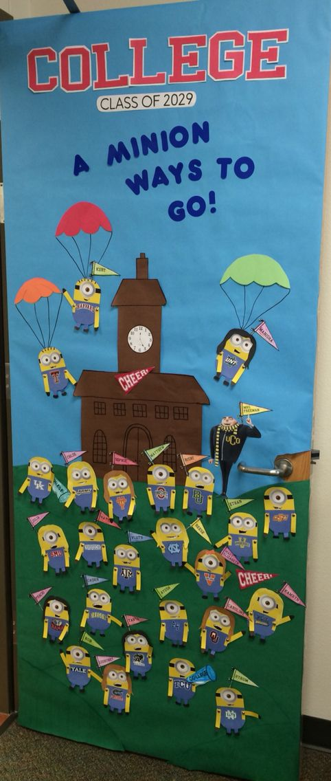 "College week teacher classroom door decor. Minions. ""College: a minion ways to go"""