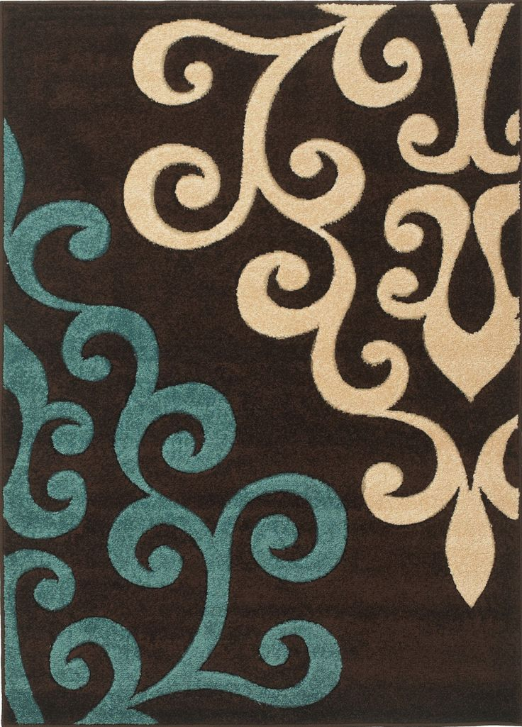 High Quality Rug Modern Damask Brown Teal Blue Cream 160x230cm