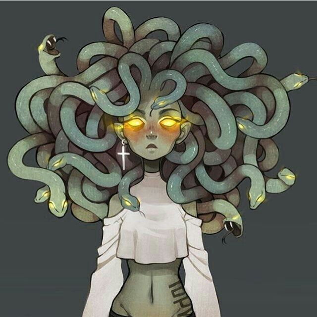 Medusa, raped by Poseidon, her goddess, Athena, changed her to protect her from men forever!