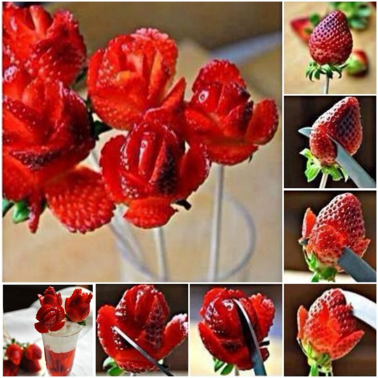 Surprise Your Date with this Edible Strawberry Bouquet --> DIY Fresh Strawberry Rose (Video) #Valentine, #Party, #Fruit, #Hack