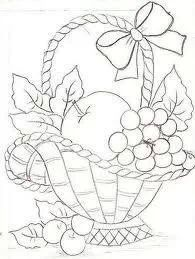 fruitmand basket of fruitfruit basket drawingcoloring