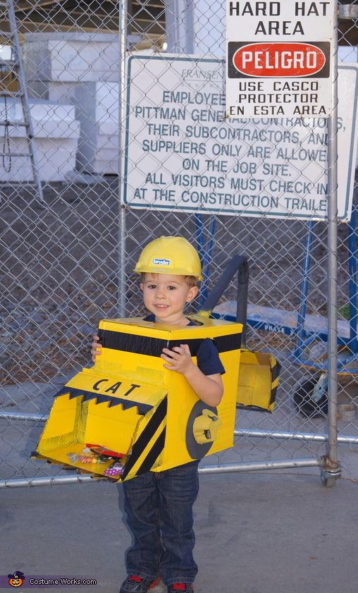 Carolyn: Tyler, 3 years, is wearing a backhoe/front loader costume. Tyler chooses what he would like to be each year for Halloween and this year he is really into diggers, trucks,...