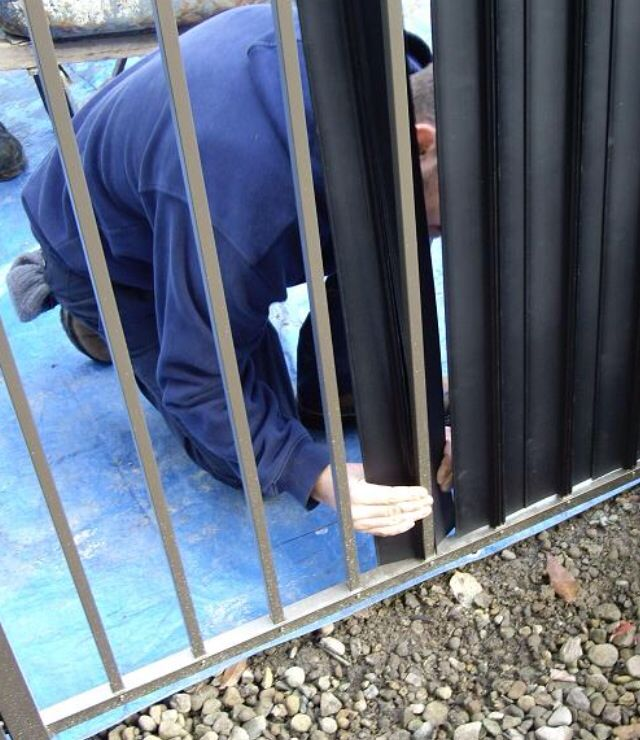 Privacy slats for iron wrought fences backyard