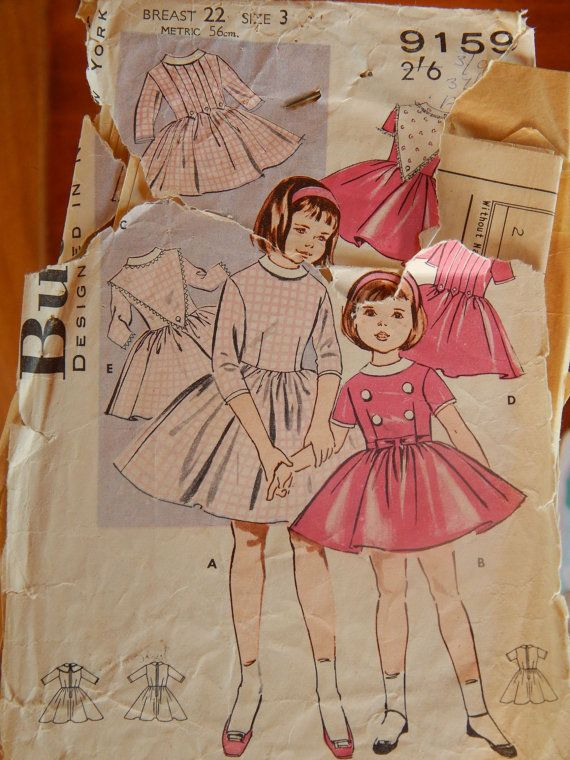 1960s Girls Dress Pattern Butterick 9159