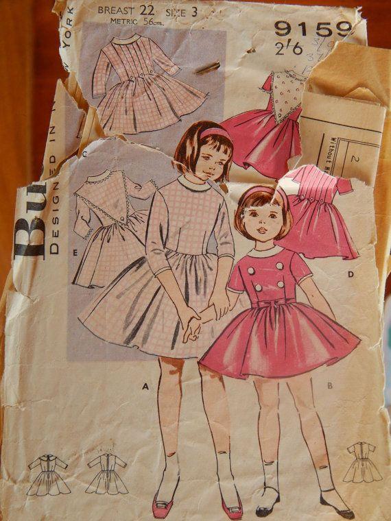 1960s Girls Dress Pattern Butterick 9159