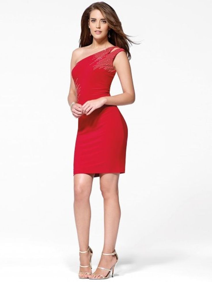 Details about NWT Cache SEXY Red One Shoulder Studded Evening ...